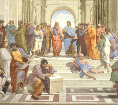 School of Athens by Raphael [Public domain], via Wikimedia Commons (cropped)