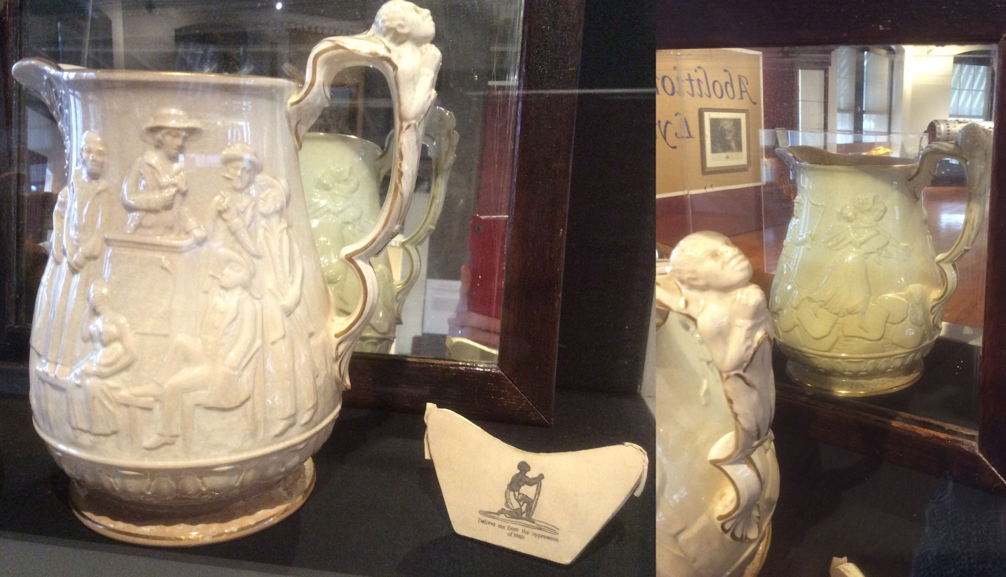 Abolitionist Pitcher at Lynn Museum, front and back, 2016 Amy Cools