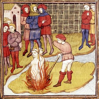 Detail of a miniature of the burning of the Grand Master of the Templars and another Templar. From the Chroniques de France ou de St Denis, Public Domain via Wikimedia Commons