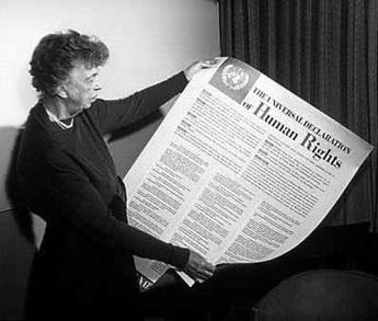 Eleanor Roosevelt and Human Rights Declaration, public domain via Wikimedia Commons