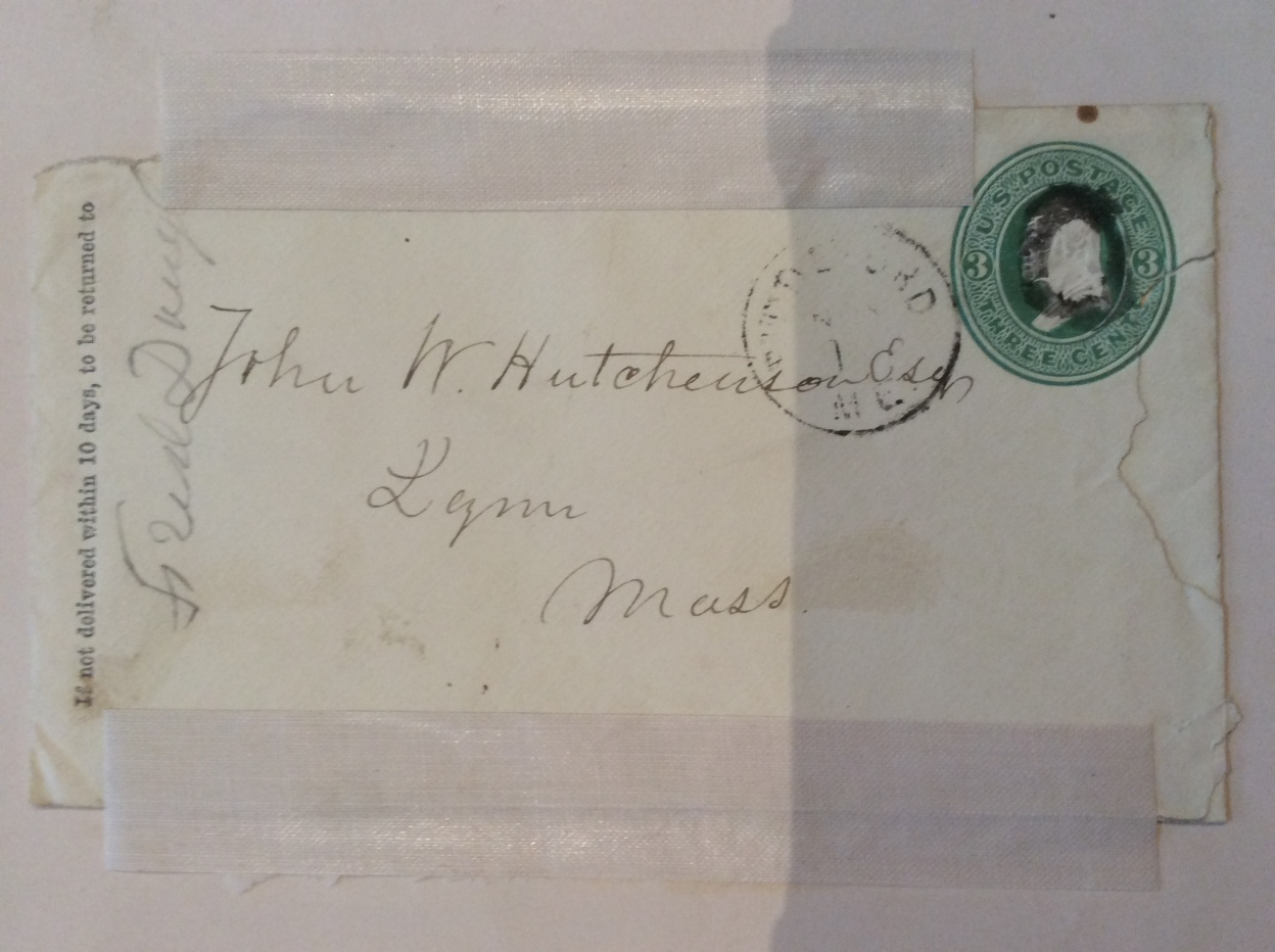 The envelope is addressed: 'John W. Hutchinson, Lynn Mass' from 'Fred'k Douglass'
