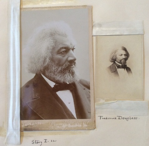 Two portraits of Frederick Douglass from the Hutchinson Family scrapbook, photo by Amy Cools
