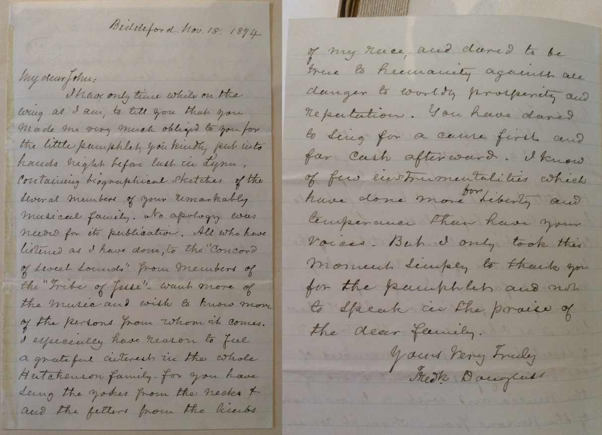 Frederick Douglass letter to John Hutchinson, dated 1874, Lynn Museum & Historical Society