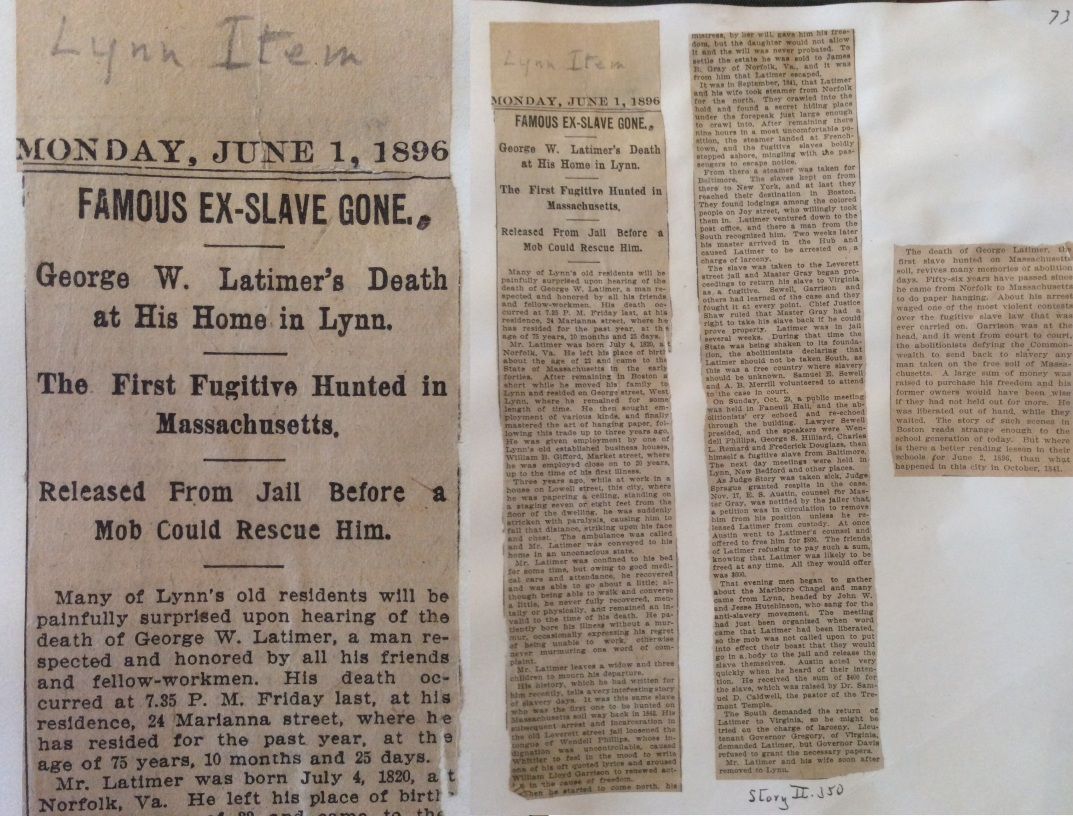 George Latimer article, Lynn Museum Archives
