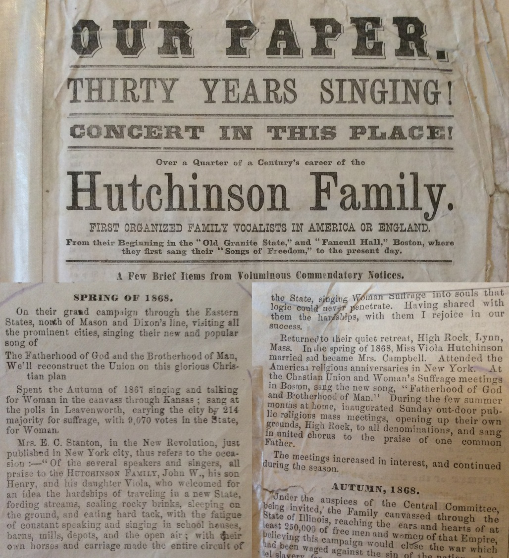 Hutchinson Family Paper celebrating 25 years as a group, with ringing endorsement by Elizabeth Cady Stanton