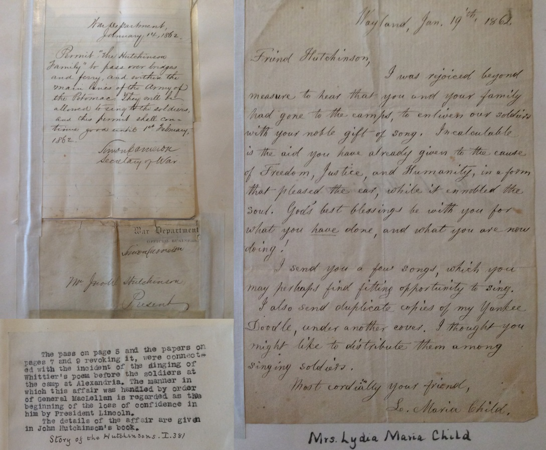 Civil War free pass and letter from Lydia Marie Child to John Huchinson, Lynn Museum & Historical Society