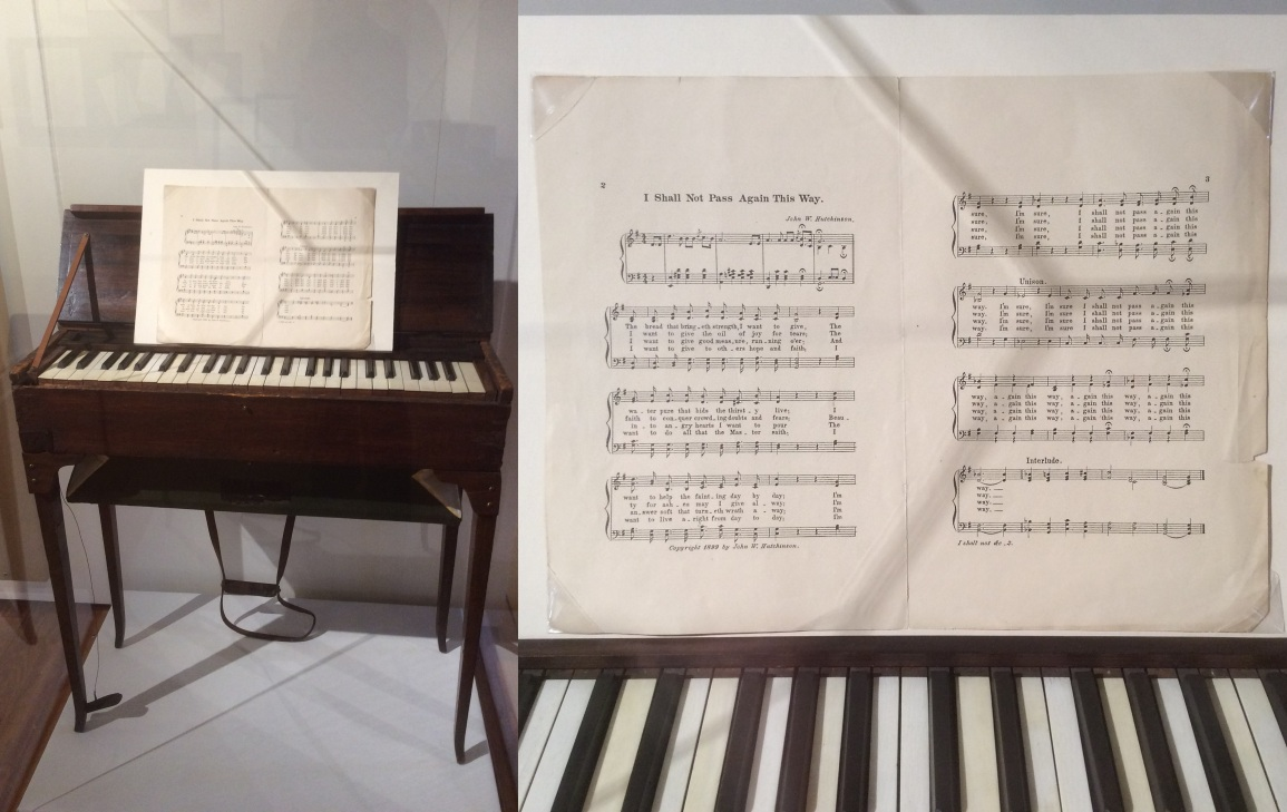 Piano with John Hutchinson sheet music, Abolitionist Lynn exhibit, March 2016
