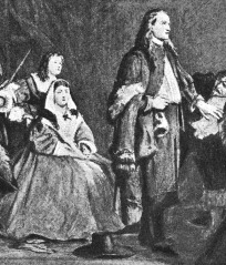Margaret Fell, with George Fox before the judges, from a painting by J. Pettie 1663, public domain via Wikimedia Commons