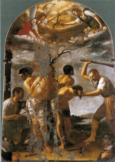 Martyrdom of Four Crowned Martyrs by Mario Minniti, San Pietro dal Carmine, at Siracusa, Sicily, public domain via Wikimedia Commons