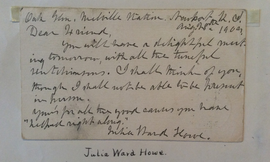 Note from Julia Ward Howe