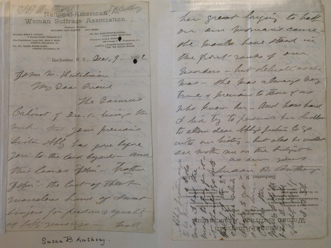Susan B. Anthony Letter to John Hutchinson