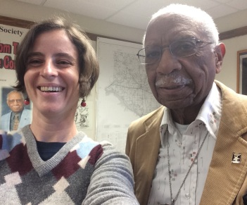 Amy Cools and Frederick Douglass scholar David Anderson at Nazareth College. Pro