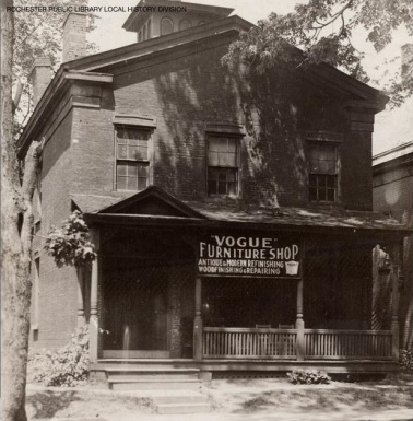 Douglass home at 4 Alexander St in later incarnation as a shop, image Rochester Public Library Local History