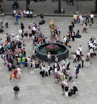 People in a Public Square, cropped, Image Creative Commons CCO Public Domain via Pixabay