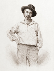 Walt Whitman, age 35, from Leaves of Grass, Fulton St., Brooklyn, N.Y., engraving by Samuel Hollyer from daguerreotype by Gabriel Harrison, public domain via Wikimedia Commons