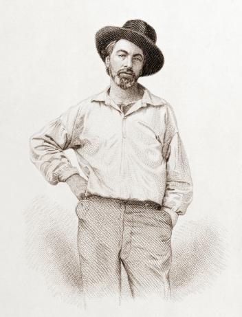 Walt Whitman, age 35, from Leaves of Grass, Fulton St., Brooklyn, N.Y., engraving by Samuel Hollyer from daguerreotype by Gabriel Harrison, public domain via Wikimedia Commons
