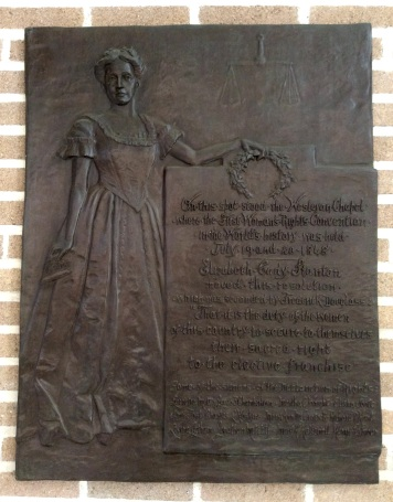 1848 Seneca Falls Woman's Rights Convention commemorative plaque in the Wesleyan Chapel