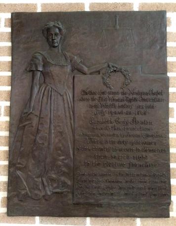 1848 Seneca Falls Woman's Rights Convention commemorative plaque in the Wesleyan Chapel
