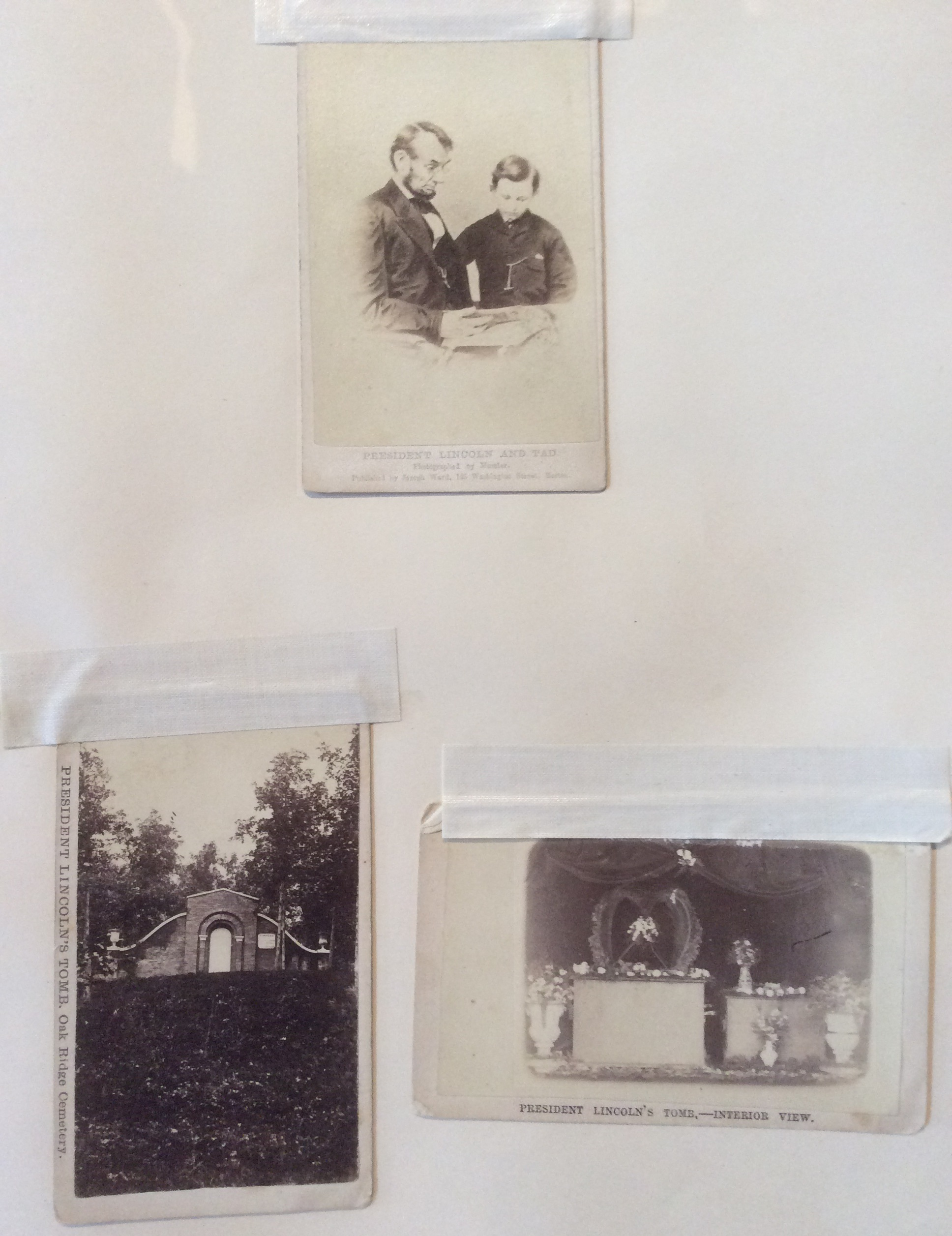 Abraham Lincoln with his son and 2 views of his tomb, from Hutchinson scrapbook at Lynn Museum