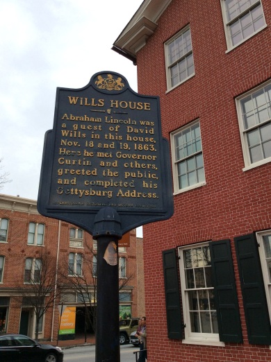 David Wills House historical marker, Gettysburg PA, 2016 Amy Cools