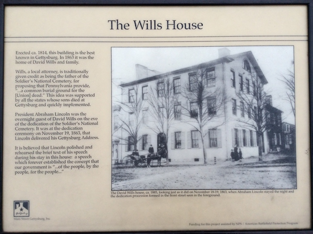 David Wills House sign, Gettyburg, PA, photo 2016 by Amy Cools