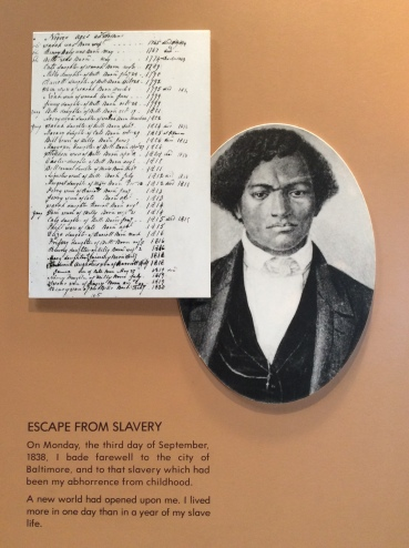 Detail of Frederick Douglass autobiography exhibit, FD Home Visitor Center