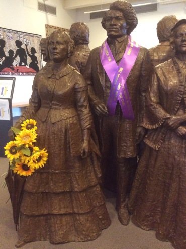 Frederick Douglass and Elizabeth Cady Stanton sculptures at the Women's Rights National Historical Park museum, part of the 'First Wave' sculpture group by Lloyd Lillie