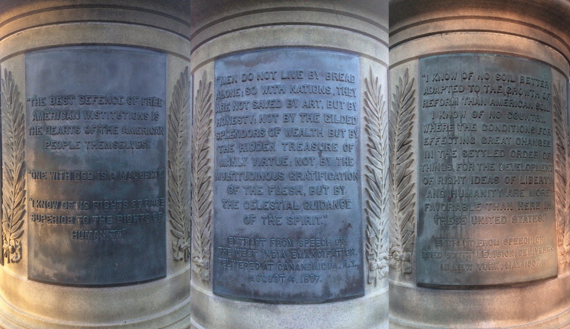 Frederick Douglass quotes on his monument pedestal