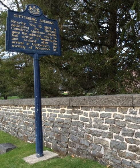 Gettysburg Address historical marker at Gettysburg National Cemetery