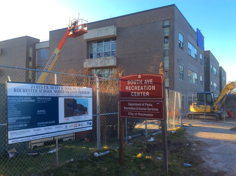 James P. Duffy School at site of Frederick Douglass Rochester farm home, under construction