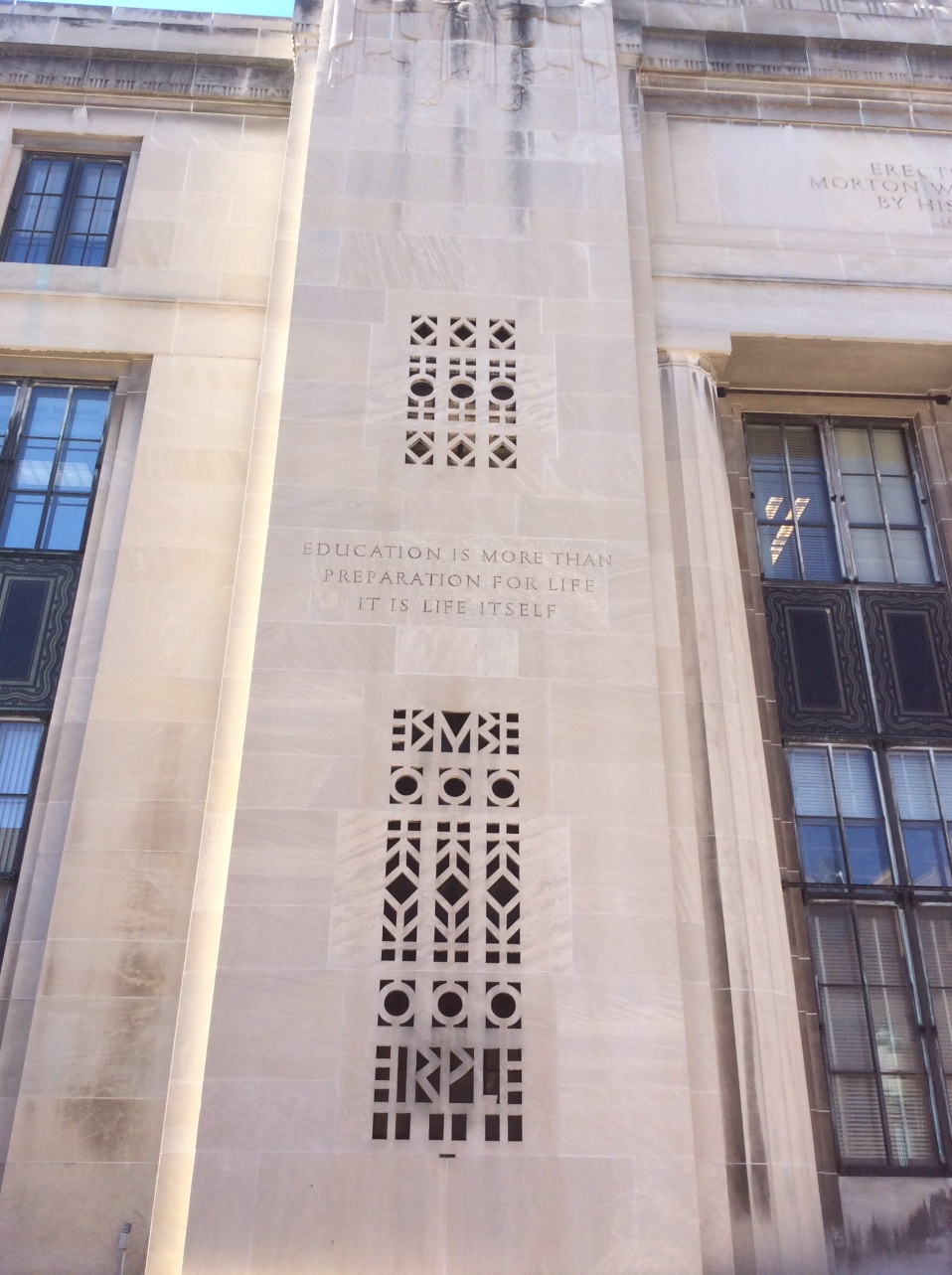 John Dewey quote inscribed on the Rundel Building of the Rochester Public Library, New York, photo 2016 by Amy Cools.jpg