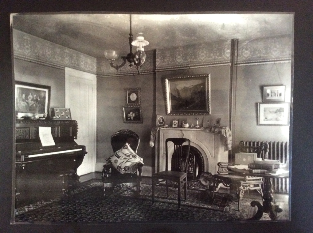 Parlor of Susan B. Anthony House, photo of photo at museum exhibit