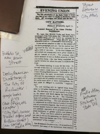 Print of old article, Rochester's Evening Union on sale of Peck Building-City Hall and my notes