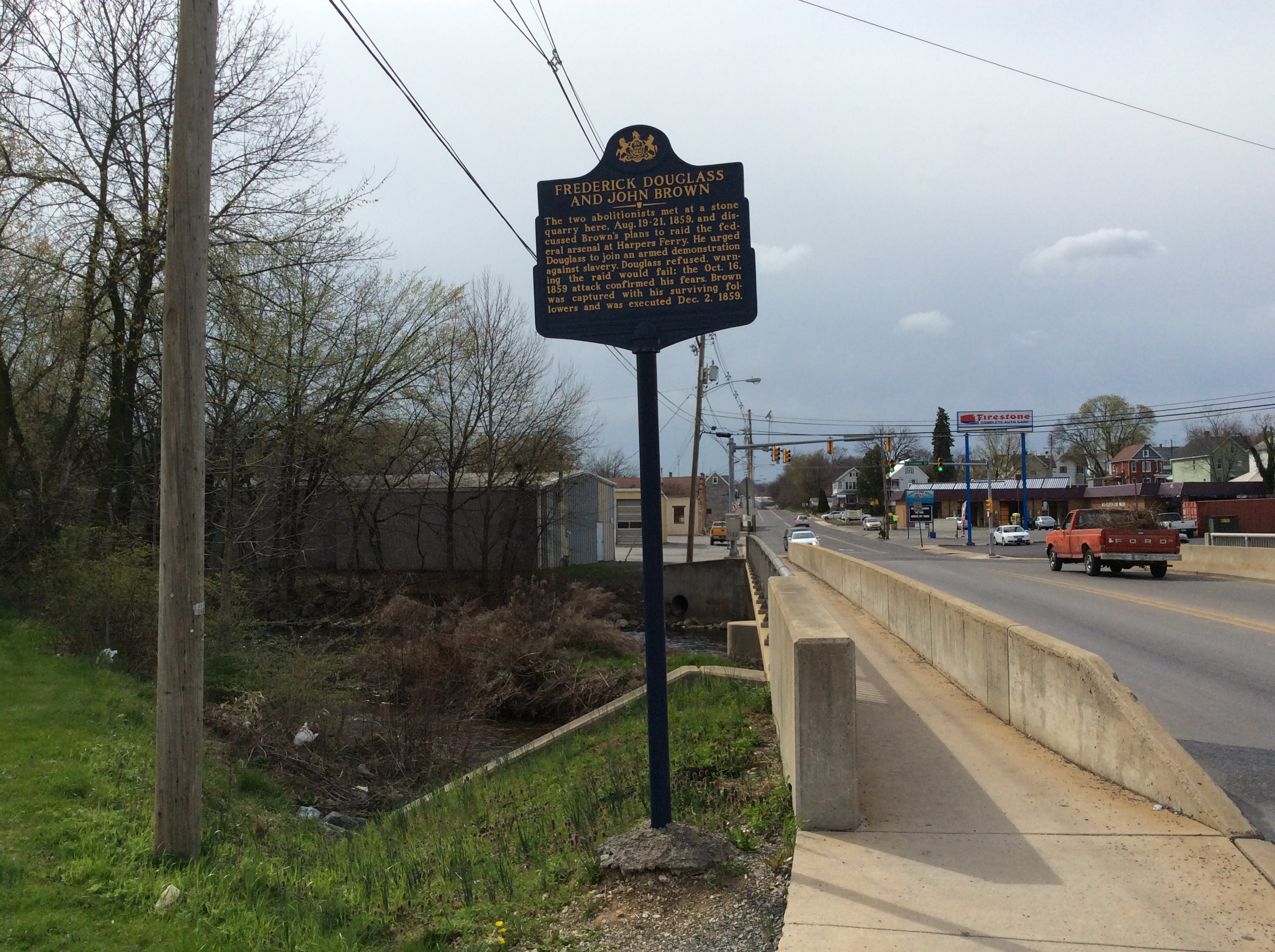 Quarry site historical marker where Douglass and Brown met, Chambersburg, 2016 Amy Cools