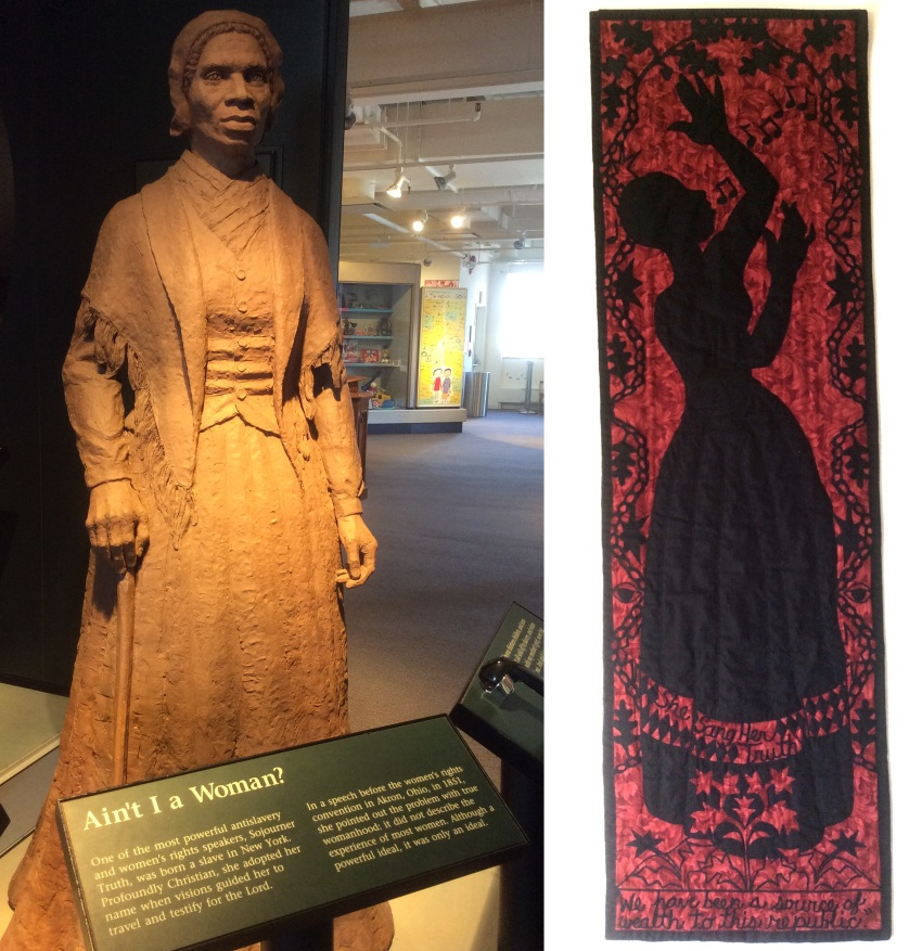 Soujourner Truth statue and plaque at the Women's Rights National Historical Park, and 'The Truth Sings' quilt by Alice Gant, on temporary display
