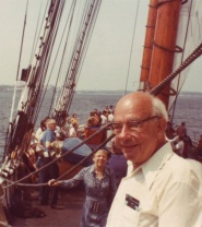 WVO Quine on the Bluenose II in Halifax, Nova Scotia, photo courtesy of Douglas Quine (cropped)