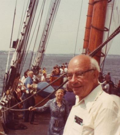 WVO Quine on the Bluenose II in Halifax, Nova Scotia, photo courtesy of Douglas Quine (cropped)