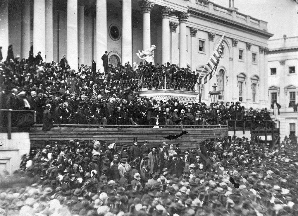 Abraham Lincoln delivering 2nd inaugural address as President of the U.S., Washington, D.C., photo Public Domain via LOC
