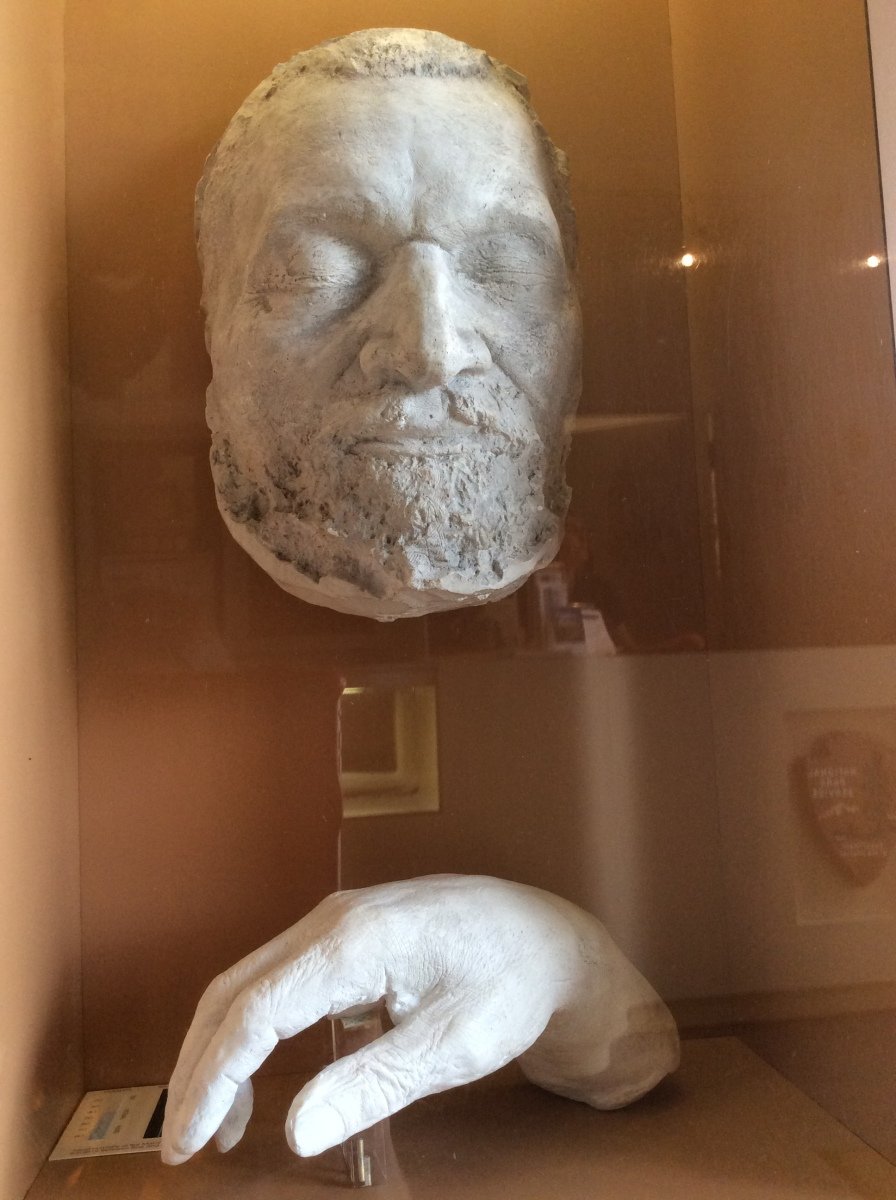 Frederick Douglass' death mask and cast of his hand, at his National Historic Site in Washington DC