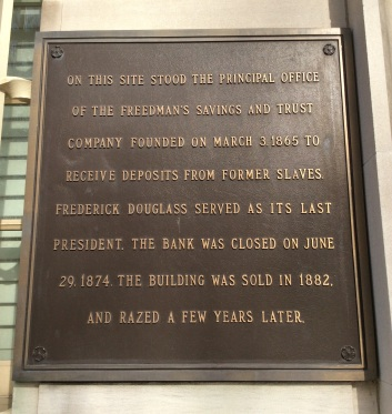 Freedmen's Bank building plaque, on entrance of the building facing onto Madison Pl.