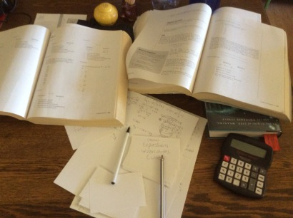 GRE study materials, photo 2016 by Amy Cools