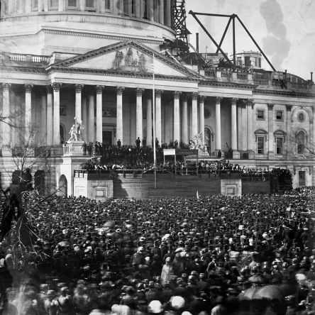 Inauguration of Mr. Lincoln, March 4, 1861, photographer unknown, public domain via LOC