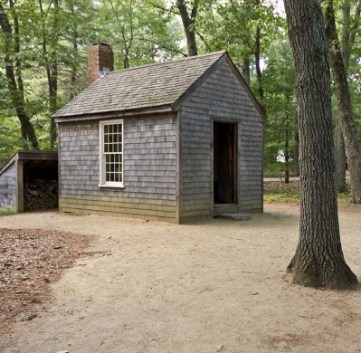 Replica of Thoreau's cabin near Walden Pond, Rhythmic Quietude, Creative Commons BY-SA 3.0 via Wikimedia Commons, cropped
