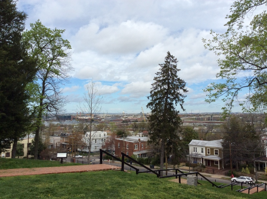 The view from Cedar Hill's front lawn, of Washington DC and Capitol Hill