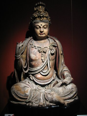 Wood Bodhisattva, Jin Dynasty (1115-1234 AD), by Mountain at Shanghai Museum, CC BY-SA 3.0 US via Wikimedia Commons