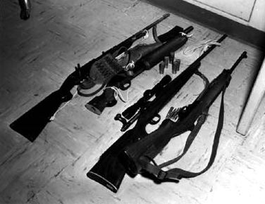 Charles Whitman's rifles and sawed-off shotgun used in University of Texas massacre of 8-1-1966, image free use under CCA 3.0