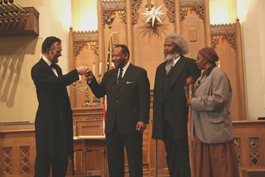 Frederick Douglass and friends portrayed by actors for Emancipation and the Dream of Freedom From Slavery to the White House 2009 by Michael A. Roth, National Park Service