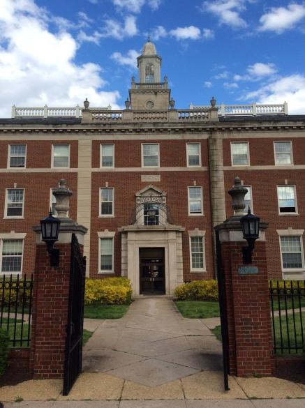 Frederick Douglass Hall at Howard U., gated entrance facing 6th St NW, Washington, DC