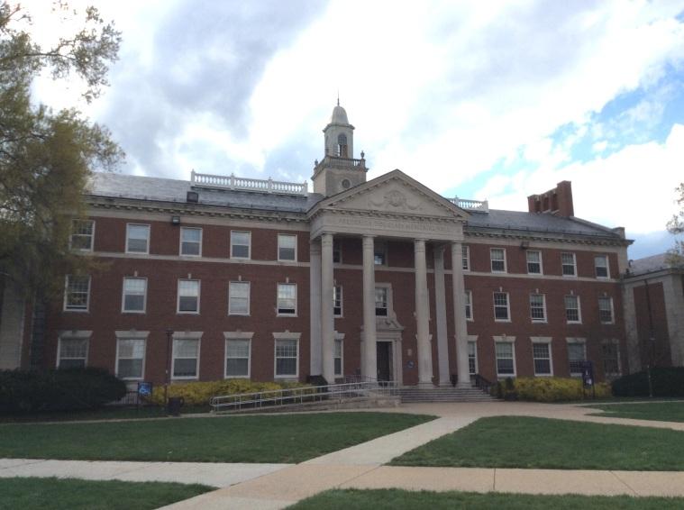 Frederick Douglass Memorial Hall, view facing onto square of Howard University, Washington D.C.