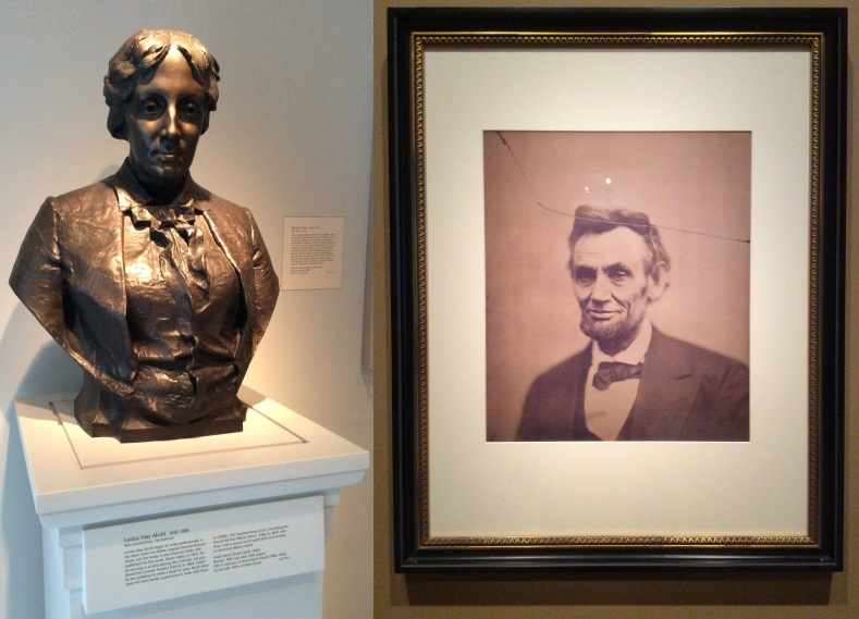 Left, bust of Louisa May Alcott. RAbraham Lincoln a month before his second inauguration, portrait by Alexander Gardner, February 5, 1865. National Portrait Gallery, Washington D.C.